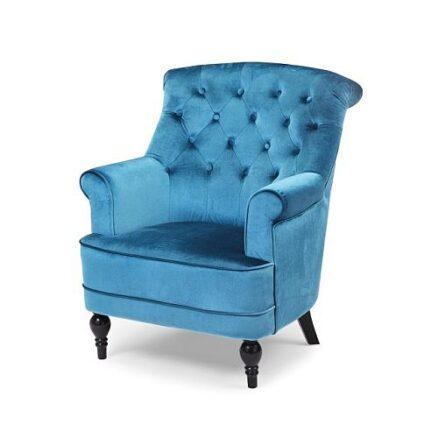 Blauwe barok fauteuil